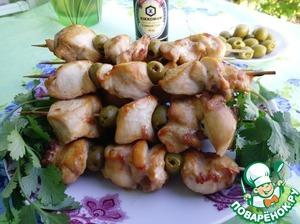 Рецепт Куриный шашлычок с оливками