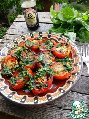 Рецепт с фото Шашлык из помидоров с базиликовой заправкой