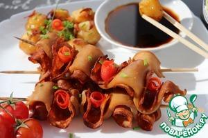 Рецепт Шашлык из кальмара с чоризо и картофелем