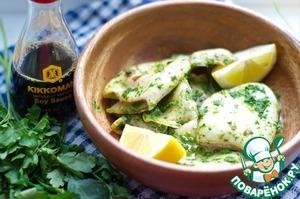 Рецепт Кальмары в зеленом соусе на гриле