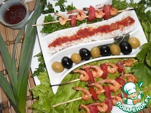 Рецепт Креветки на шпажках в остром маринаде