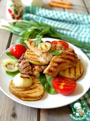 Рецепт Свинина с грушей и томатом гриль