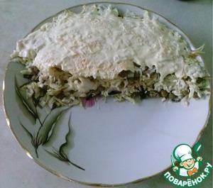 Салат с кальмарами и капустой простой пошаговый рецепт с фотографиями