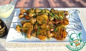 Простой рецепт с фото Картошка с грибами на гриле