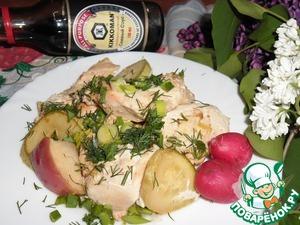 Рецепт Куриное филе с кабачком и яблоком в духовке