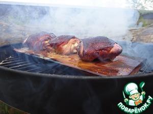 Рецепт Куриные бедрышки, запеченные на гриль-доске
