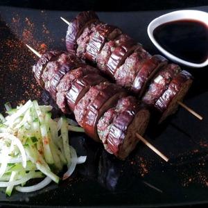 Рецепт Шашлык из мяса и баклажанов