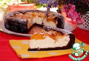 Рецепт Шоколадная бисквитная ватрушка с абрикосами