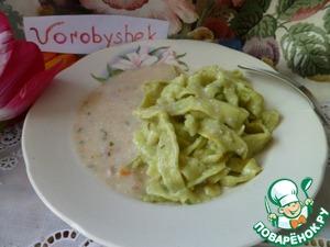 Рецепт Зеленая лапша под соусом
