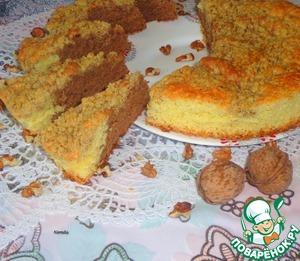 Рецепт Двухцветный бисквит с ореховым штрейзелем