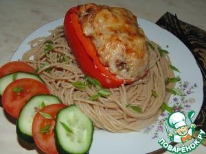 Рецепт Перец, фаршированный индейкой и грибами