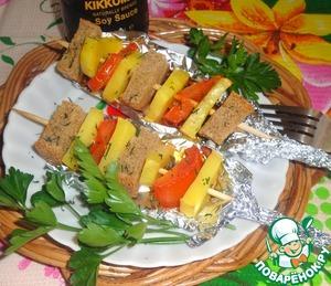 Рецепт Овощной шашлык с сухариками
