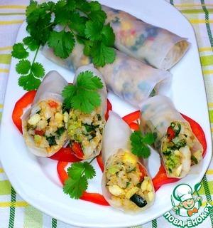 Рецепт Роллы из рисовой бумаги с рисом и креветками