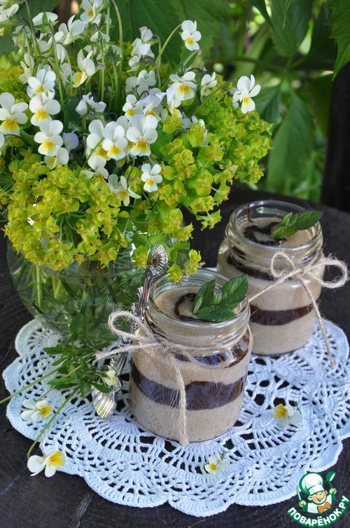 Кофейный манный мусс с шоколадной прослойкой