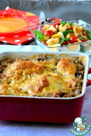 Рецепт Гречка с курицей, запеченная в сливках