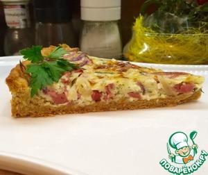 Рецепт Луковый пирог с колбасой
