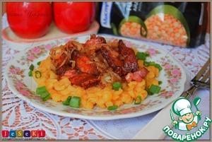 Рецепт Гороховая каша с луком и шкварками