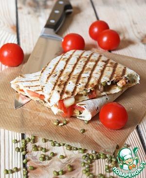 Рецепт Кесадилья с креветками и фасолью