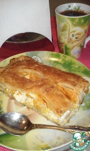 Рецепт Слоеный пирог с творогом и фруктами