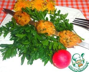 Рецепт Шашлык из тефтелей с сырной начинкой