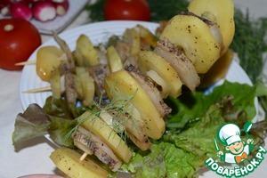 Рецепт Картофельный кебаб с салом и луком-пореем