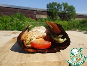 Рецепт Куриные грудки с томатом и базиликом на барбекю