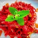 Спагетти со свеклой и печенью
