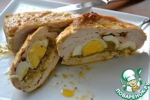 Рецепт Запеченная курица с песто и яйцом