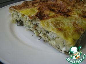 Рецепт Быстрый пирог из лаваша с творогом и брынзой