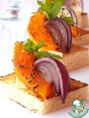 Рецепт Канапе с сыром бри и тыквой