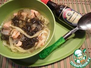 Рецепт Тайский суп с яичной лапшой и лососем