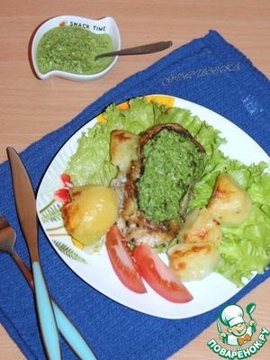 Рецепт Минтай, запеченный под огуречно-ореховым соусом