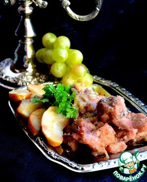 Рецепт Свинина по-французски с имбирем и яблоками