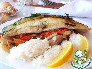 Рецепт Камбала с овощами и салом