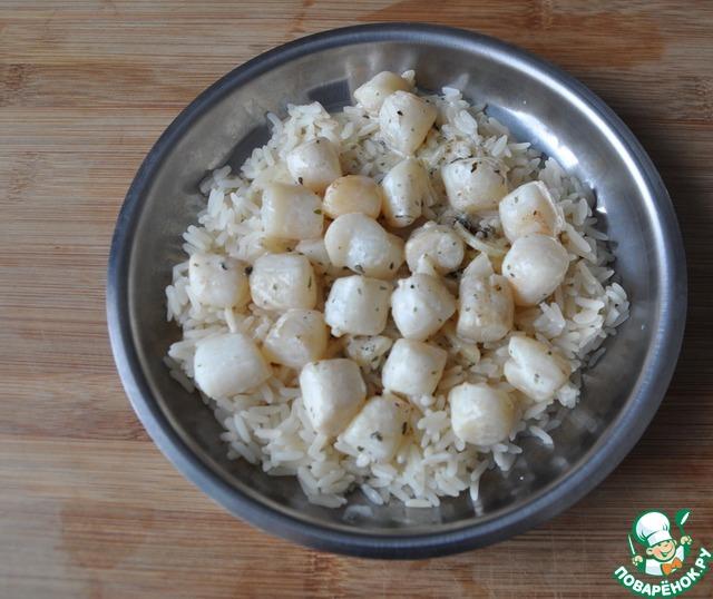 """Гребешок в сливочно-чесночном соусе на рисовой """"подушке"""" рецепт приготовления с фото пошагово как приготовить #7"""