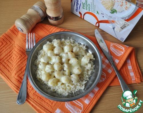 """Гребешок в сливочно-чесночном соусе на рисовой """"подушке"""" рецепт приготовления с фото пошагово как приготовить #10"""