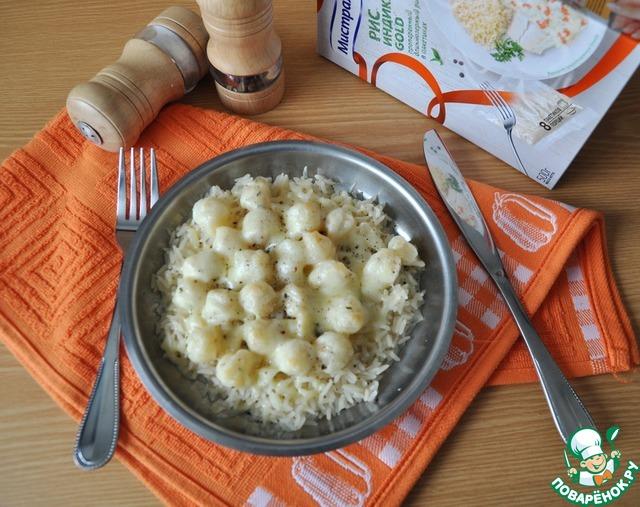 """Гребешок в сливочно-чесночном соусе на рисовой """"подушке"""" рецепт приготовления с фото пошагово как приготовить #9"""