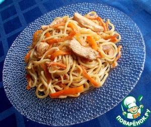 Рецепт Тянутая лапша овощами и курицей