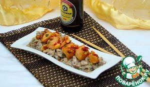 Рецепт Карамелизированная курица в соевом соусе на грибной подушке