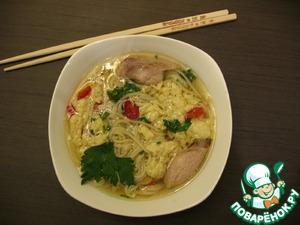 Рецепт Китайский яичный суп с лапшой