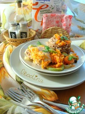 Рецепт Курица в бульоне с морковью и кабачком