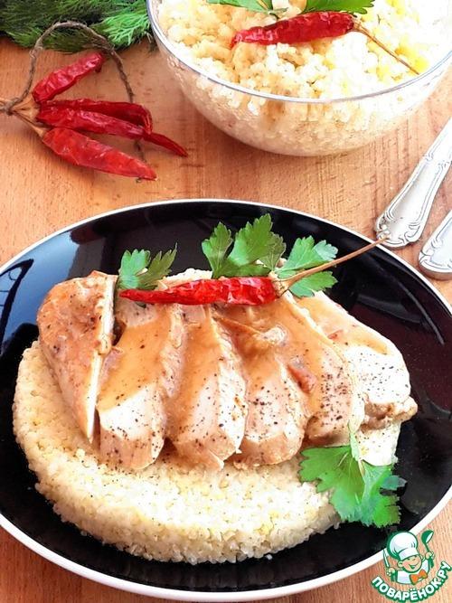 Тушённое куриное филеы