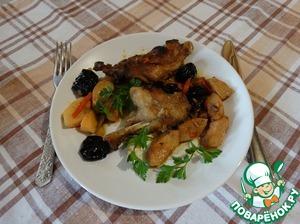 Рецепт Тушеное мясо нутрии с айвой и черносливом