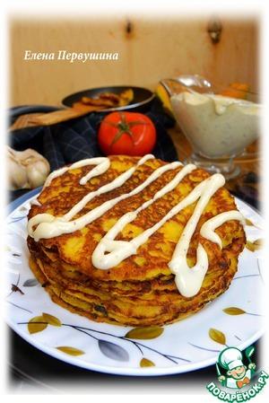 Рецепт Тыквенно-сливочные оладьи со сметанным соусом