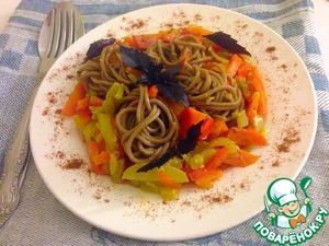 Рецепт Гречневая лапша с овощами и соусом терияки