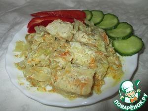Как приготовить Сливочная капуста с индейкой, тушённые без масла вкусный пошаговый рецепт с фото