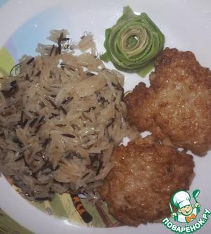 Рецепт Кальмаровые оладьи с имбирным рисом