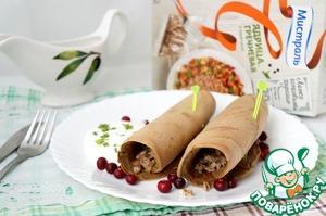 Рецепт Трубочки из куриной печени с гречкой
