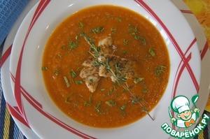 Рецепт Суп из печеных овощей с жареной рыбой