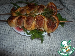 Готовим вкусный рецепт приготовления с фото Шашлычки на шпажках со слоеным тестом
